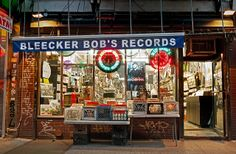 New York: Photographer catalogs the glowing neon signs illuminating store fronts across city Vinyl Record Shop, Vinyl Store, Vinyl Records, Storefront Signage, New York Night, Bleecker Street, Lights Fantastic, New Amsterdam, Vintage Records