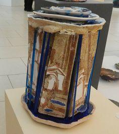 Червяков А.Д. Декор. композиция «Дожди» h 45см шамот, цв. массы, соли, стекло, высокий обжиг