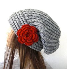 Hand Knit Hat Womens hat  chunky knit Slouchy Beanie  by Ebruk, $35.00