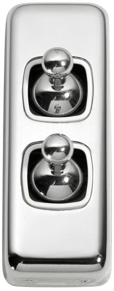 2 Gang Architrave Toggle Light Switch - White Toggle Base