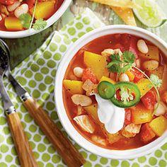 Chicken-and-White Bean Chili with Pumpkin | CoastalLiving.com