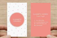 Polka Dot Business Card. Spots, Confetti Calling Card, Printable DIY Custom Digital Download. pink. salmon. double sided vertical