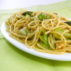 Spaghetti with Shaved Asparagus, Brown Butter and Toasted Walnuts