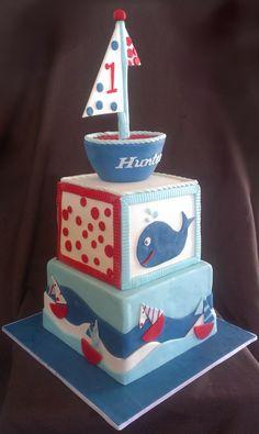 Sail Boat First Birthday Cake