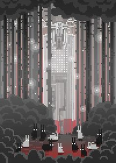 Waneella uses the magic of pixels to create simple-yet-striking sci-fi and fantasy-inspired gifs.  Bunnies and Monster.:
