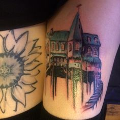 Hands like houses fire on a hill thigh tattoo