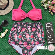 Maria - Retro Vintage Pin Up Handmade Fuchsia Pink Red Rose Floral High Waist Bikini Swimsuit Swimwear