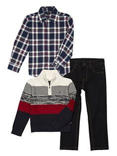 Nautica Baby Boys' Zip Sweater, Long Sleeve Shirt, and Denim Pant Set, Cream Stripe, 18 Months