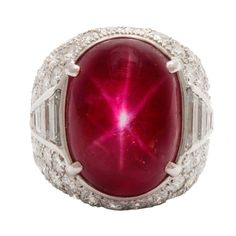 Magnificent Star Burma Ruby Diamond Art Deco Ring, c . 1935