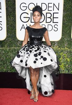 Janelle Monáe in Armani and Forevermore jewelry at 2017 Golden Globes