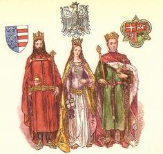 Kazimerz Wielki, r. 1333–1370; Jadwiga, r. 1384-1399; Wladyslaw Jagiello, r.1386–1434.