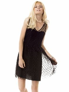robe noire à pois décolletée dos de naf naf