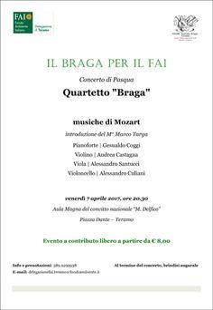Teramo venerdì 7 aprile il concerto : Il Braga per il FAI