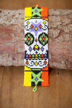 Huchol Beaded Bracelet by thebumblebeaduk on Etsy Simple Bracelets, Handmade Bracelets, Handmade Gifts, Loom Patterns, Beading Patterns, Beaded Bracelet Patterns, Beaded Bracelets, Resin Jewelry, Beaded Jewelry