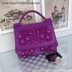 dfcf48d03e Dolce   Gabbana SICILY Lace Tote Bag BB4136 Purple