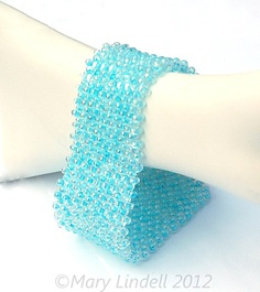 Glacier Blue Berry Bead Woven Bracelet - Blue Ice