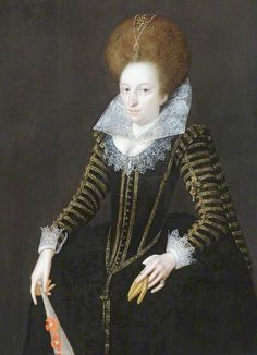 1609 Unknown Lady, Aged 31, Holding a Glove and a Fan in the style of Marcus Gheeraerts the Younger