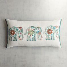 Beaded Elephant Trio Lumbar Pillow