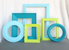 Lime Green Aqua Teal Turquoise Ornate Frames set of 6 Upcycled Painted Modern Frame set bedroom decor Circle Round Frames on Etsy, Sold