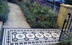 Islington Victorian mosaic tile path York stone sandstone paving wrought iron rails and gate London (18)