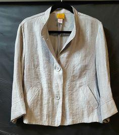 Ruby Rd Silvery Gray  Swing Jacket Size 14 3/4 Sleeve Pockets Mandarin Collar  #RubyRd #Blazer