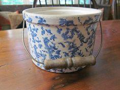 Antique Blue White Sponge Ware Crock With Bail Handle | eBay