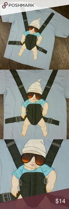 The Hangover Tee Ripple Junction Large Blue Tee The Hangover Movie T-Shirt Baby Carrier   22 inch chest measured flat lay pit to pit 28 inch shirt length Ripple Junction Shirts Tees - Short Sleeve
