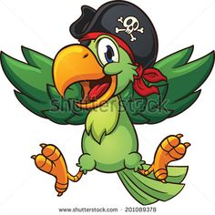 Happy pirate parrot. Vector clip art illustration with simple gradients. All in…