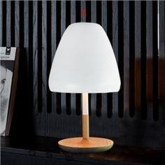 Tischleuchte Pilz Design Holz Gestell Weiß