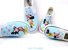 Cute!!! Mickey Mouse Themed Slip-on Family Hand Painted Canvas Shoes
