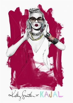 Armani KAJAL fashion illustration by Kelly Smith
