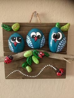 Stone Crafts, Rock Crafts, Crafts To Make, Crafts For Kids, Arts And Crafts, Stone Art Painting, Pebble Painting, Pebble Art, Rock Painting Patterns