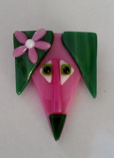 Cute Fused Glass Dog Brooch in Apple Blossom Pink and Green Designed by The Left Hand Artista