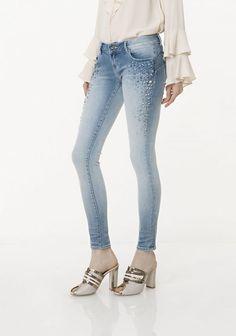 Curvy Jeans Skinny Con Particolari Brillantini Butterfly