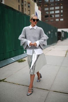fall outfit, winter outfit, party outfit, nigh out outfit, dinner outfit, office outfit, work outfit, holiday outfit, all grey outfit - grey ruffle sleeve sweater, white shirt, metallic pleated skirt, silver pleated skirt, glitter heels, brown cat eye sunglasses