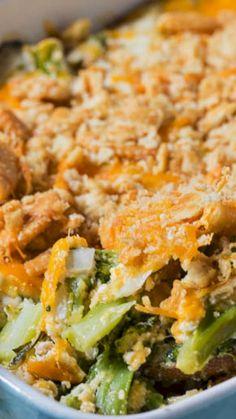 Broccoli Casserole Recipe ~ A cheesy, creamy broccoli casserole with a ritz cracker topping