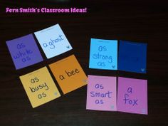 Easy Make and Take Simile Centers with Paint Sample Cards Teaching Poetry, Teaching Tips, Teaching Reading, Reading Stations, Reading Centers, Literacy Centers, 4th Grade Writing, Fourth Grade, Second Grade
