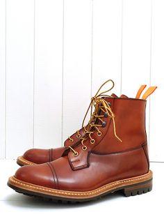 Tricker's For The Bureau Orange Cordovan Toe Cap Super Boot