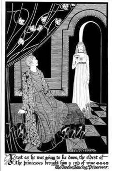 'The twelve dancing princesses', Hannah Frank (1928) Pen and ink 40 cm x 26 cm. Prints available for sale.