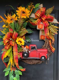 Custom And Unique Door Wreaths Elegant Fall Wreaths, Easy Fall Wreaths, Diy Fall Wreath, Thanksgiving Wreaths, Summer Wreath, Holiday Wreaths, Fall Door Wreaths, Wreath Ideas, Red Truck Decor