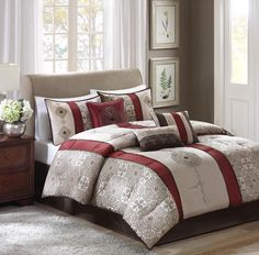 7 Piece Comforter Bedding Collection Set Queen Bedroom Pillows Bed Skirt Sham #Unbranded