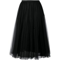 Valentino Pleated Long Skirt (25 845 SEK) ❤ liked on Polyvore featuring skirts, black, pleated a line skirt, long a line skirt, ankle length skirt, floor length skirts and maxi skirt