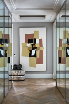apartment, London, art, mirror, corridor, hallway, entrance, entry, interior design