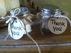 Adult Party Favors Tiny Mason Jars With Linen Cloth And Wedding Mints Jute Rope Tied Around Them A Little Thank You Note On Cardstock