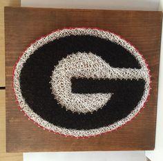 UGA nail string art Georgia Bulldogs