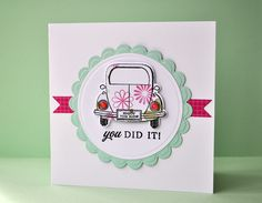 Inky Fingers: Papertrey Ink pass driving test card Men's Cards, Kids Cards, Passed Driving Test, Driving School, Test Card, Congratulations Card, Making Cards, Card Making Inspiration, Card Sketches