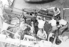 5-inch gun crew in drill, battleship USS North Carolina, circa mid-1941. (US Navy)