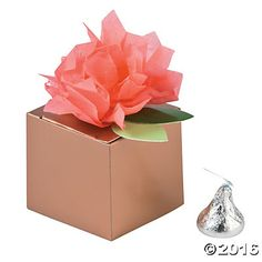 Copper-tone Favor Boxes with Coral Tissue Flower