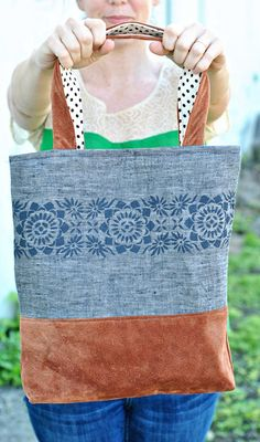 Linen and Leather Tote Tutorial - Dandelion Drift