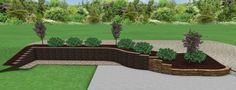 3D Design.  Retaining wall using Lampus block and a 20ft section on natural sandstone blocks.